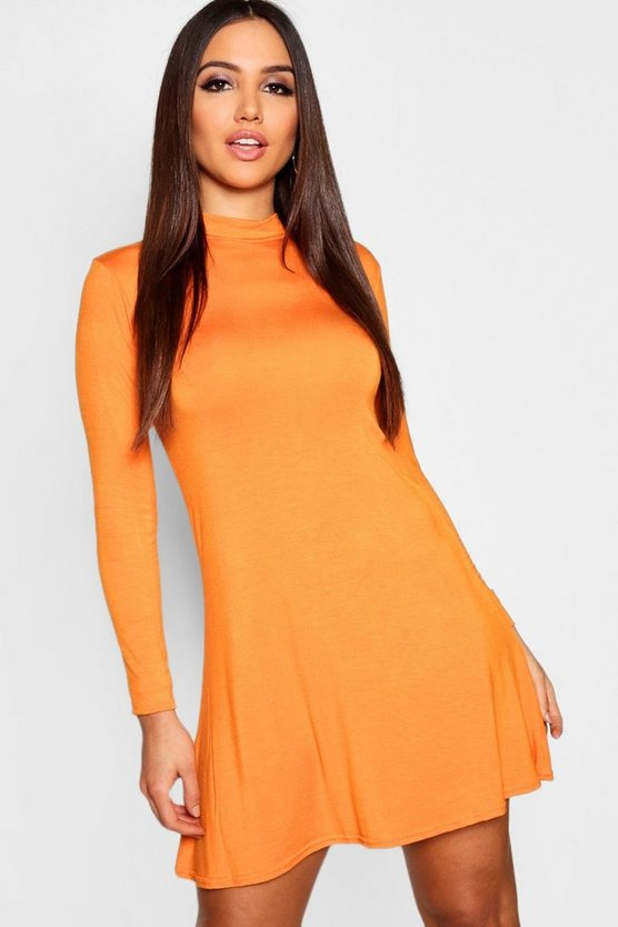 High Neck Long Sleeved Swing Dress
