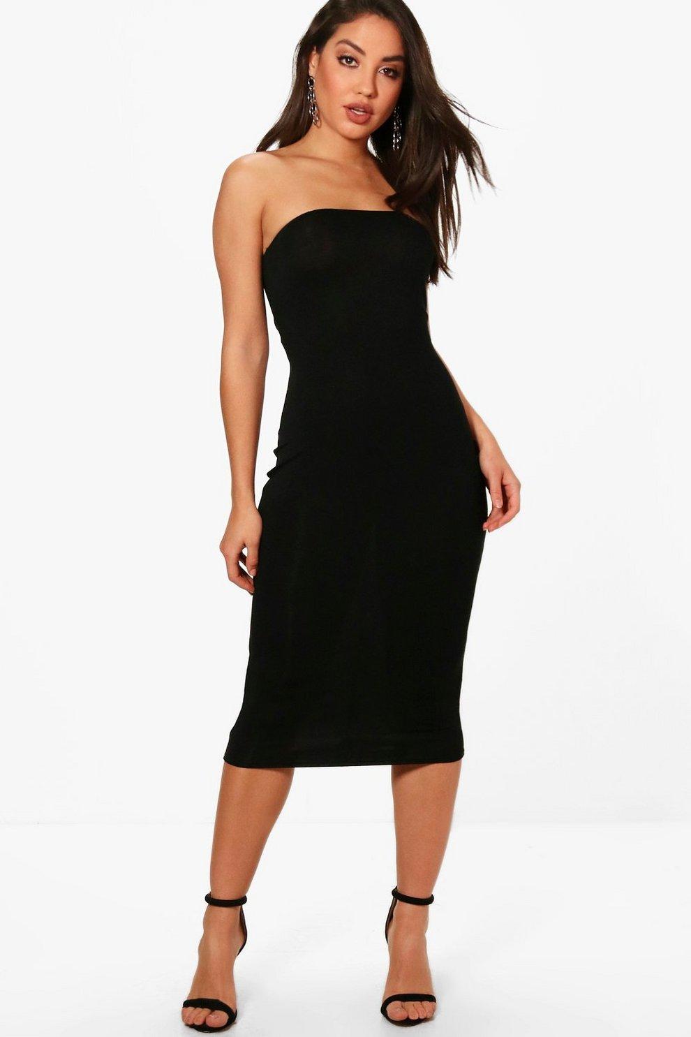 aaa83e643590c Womens Black Eliza Bandeau Jersey Bodycon Midi Dress