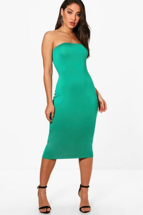 Eliza Bandeau Jersey Bodycon Midi Dress