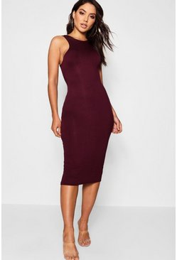 Womens Black plum Basic Racer Front Midi Dress