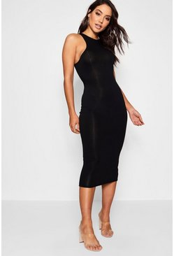 Womens Black Basic Racer Front Midi Dress
