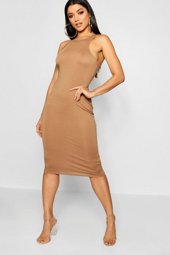 Womens Camel Basic Racer Front Midi Dress