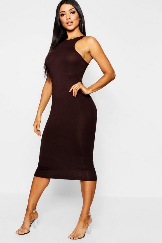 Womens Chocolate Basic Racer Front Midi Dress