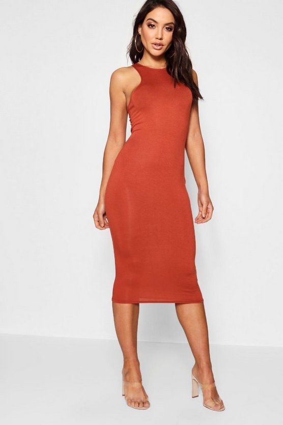 Womens Terracotta Basic Racer Front Midi Dress
