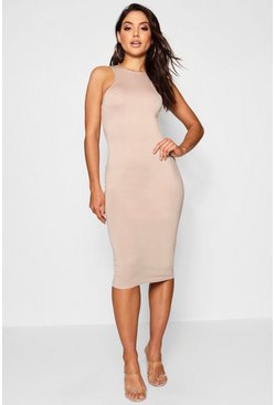 Basic Racer Front Midi Dress, Toffee, Donna