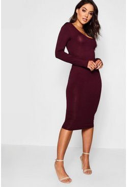 Womens Black plum Square Neck Long Sleeved Bodycon Dress