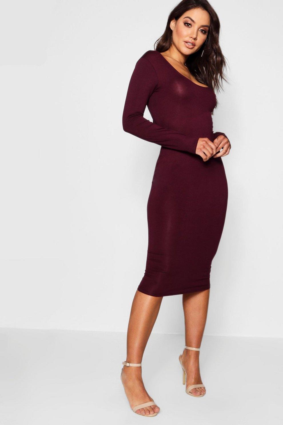 2a0698f5a4b3 Womens Black plum Square Neck Long Sleeved Bodycon Dress