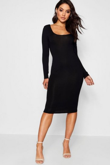 Womens Black Square Neck Long Sleeved Bodycon Dress