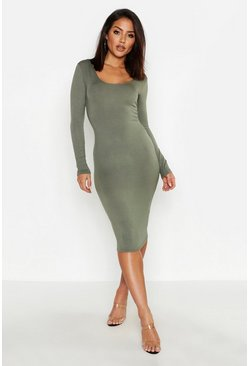 Khaki Square Neck Long Sleeved Bodycon Dress