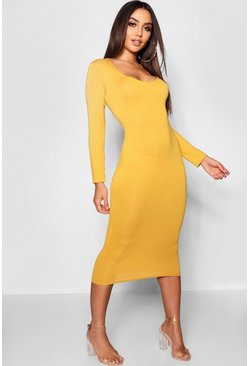Square Neck Long Sleeved Bodycon Dress, Mustard, Donna