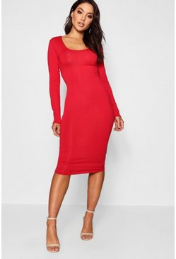 Red Square Neck Long Sleeved Bodycon Dress
