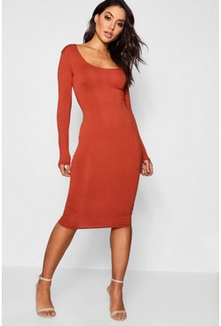 Square Neck Long Sleeved Bodycon Dress, Terracotta, Donna