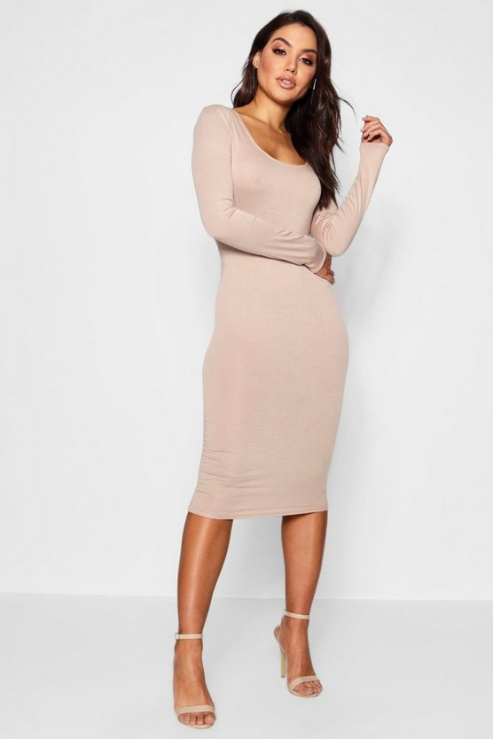 Womens Toffee Square Neck Long Sleeved Bodycon Dress
