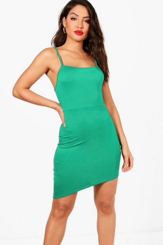 Square Neck Asymmetric Bodycon Dress