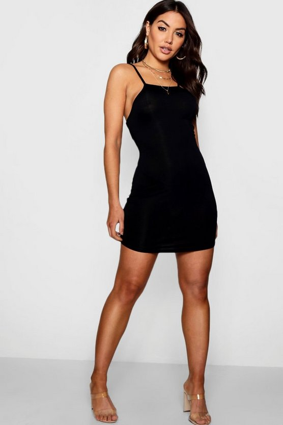 Black Square Neck Curved Hem Bodycon Dress