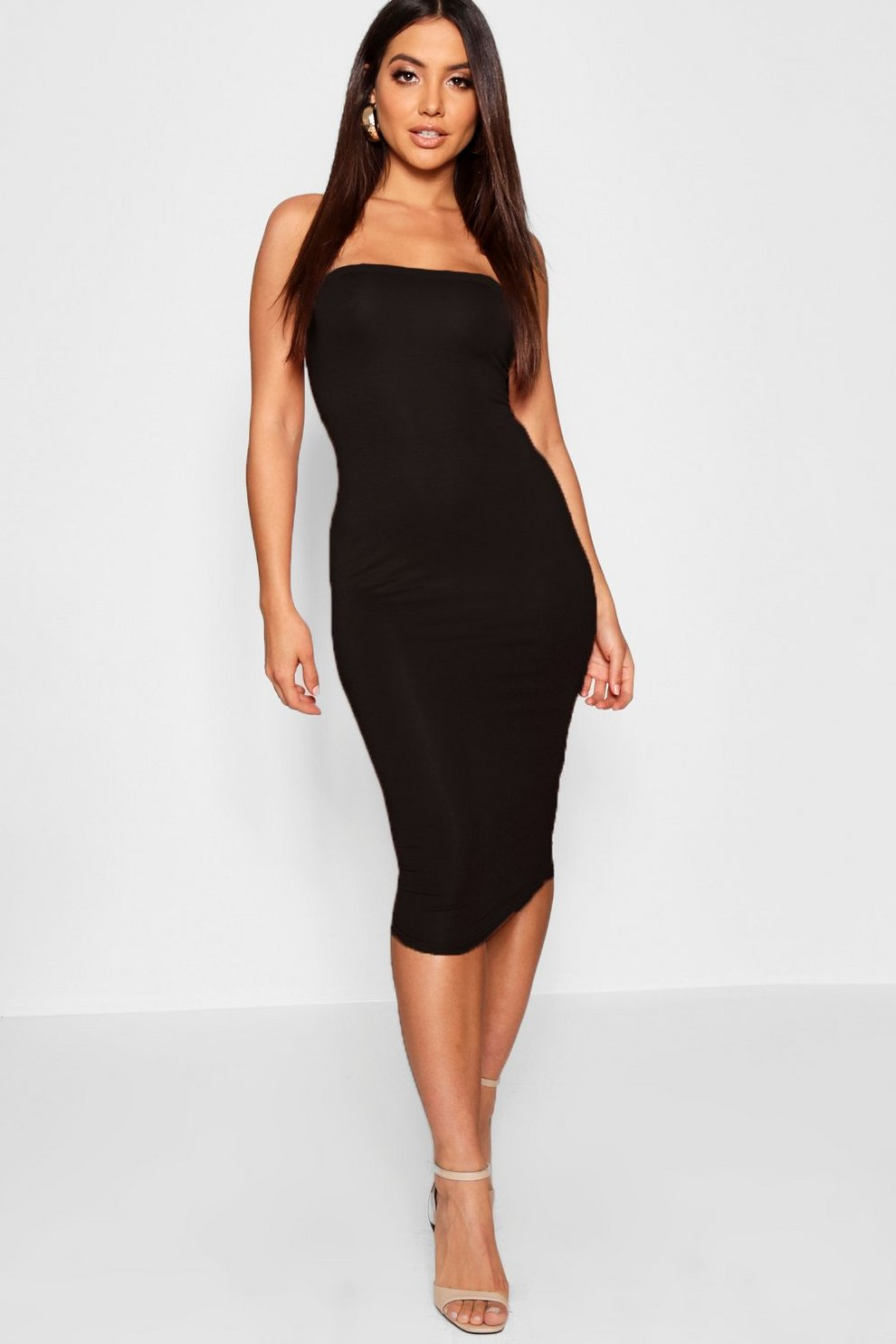 689b349a17 Womens Black Bandeau Bodycon Midi Dress