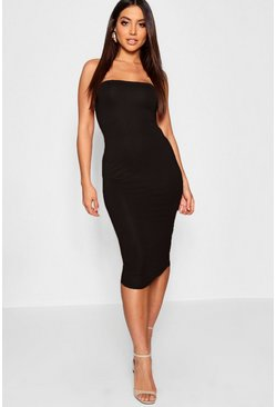 Bandeau Bodycon Midi Dress, Black, Donna