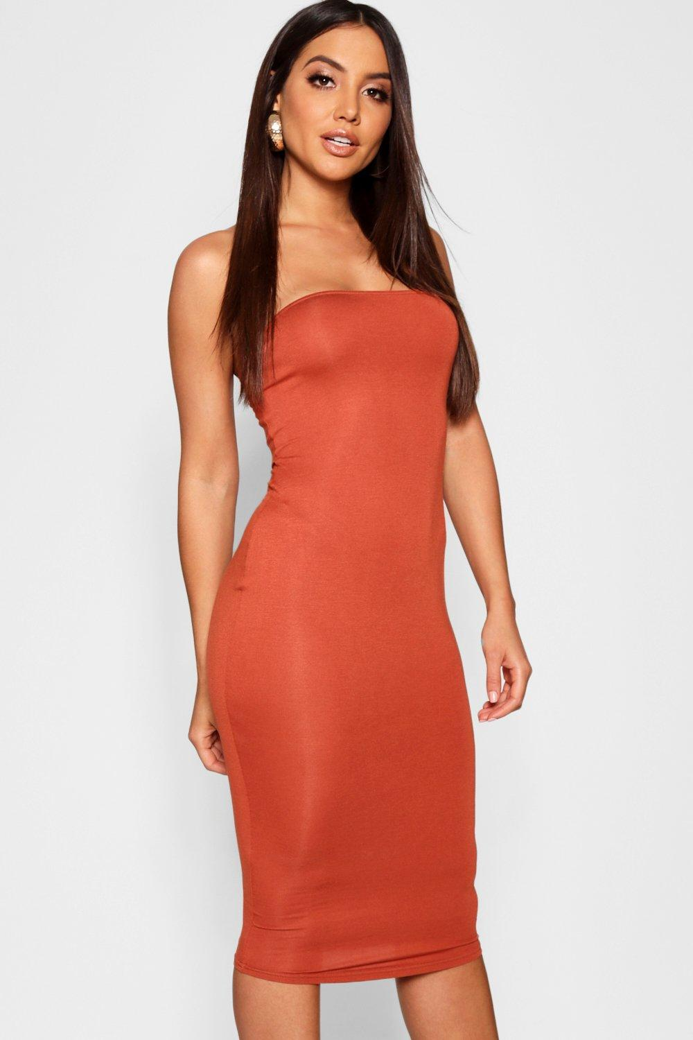 57713e5e0e Boohoo Womens Bandeau Bodycon Midi Dress | eBay