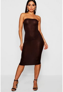 Womens Chocolate Bandeau Bodycon Midi Dress