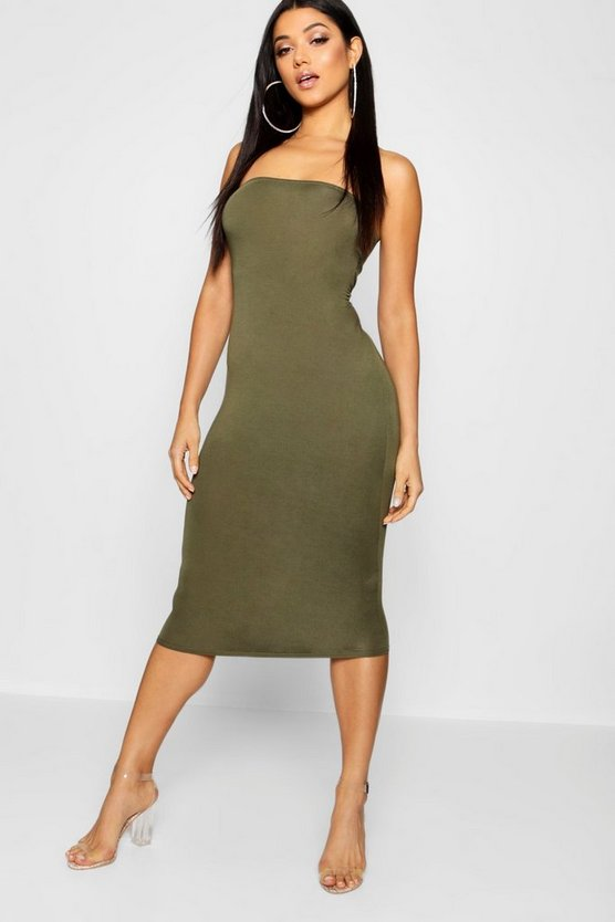 Bandeau Bodycon Midi Dress, Khaki, Donna