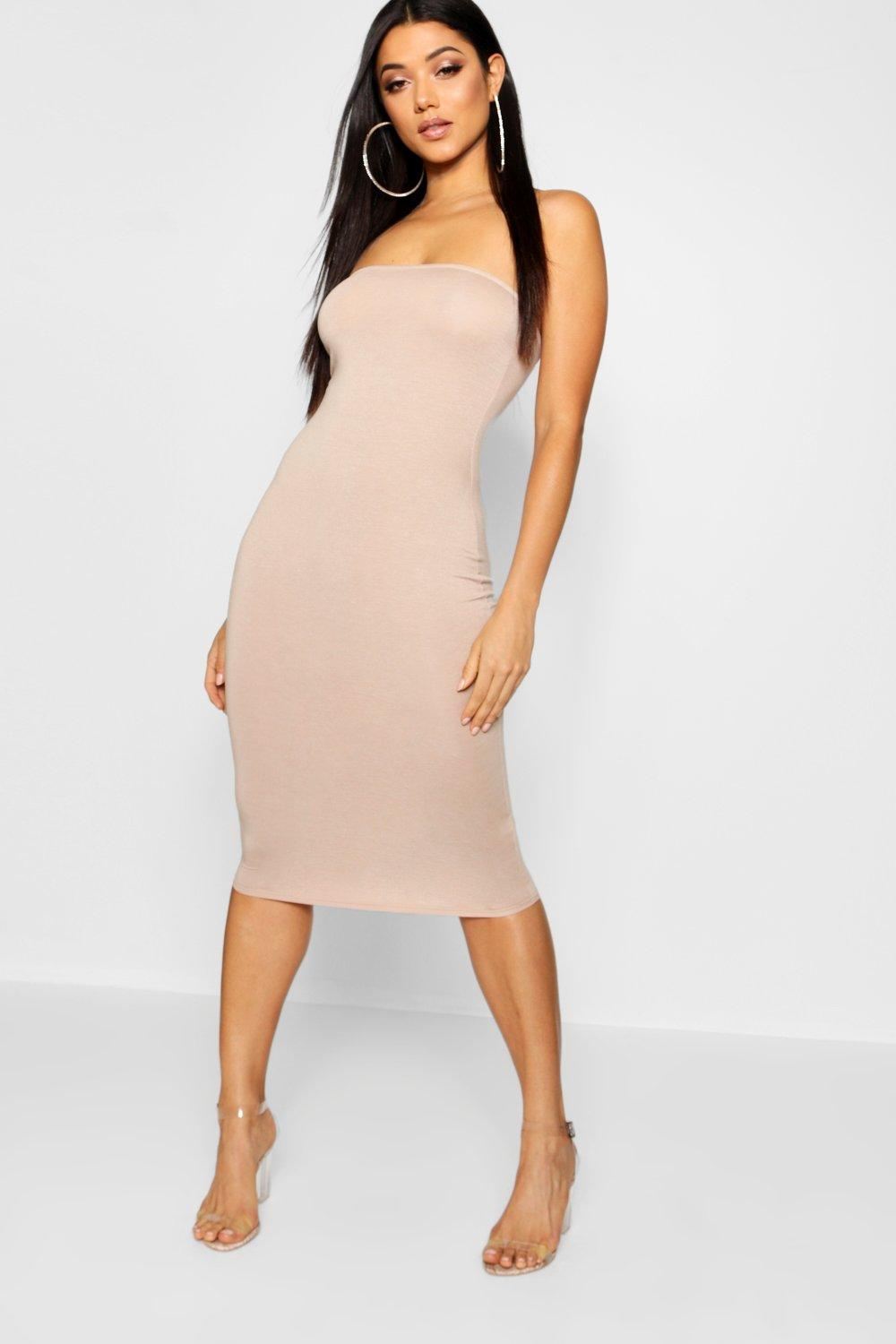 84c164a4fb Womens Sand Bandeau Bodycon Midi Dress. Hover to zoom