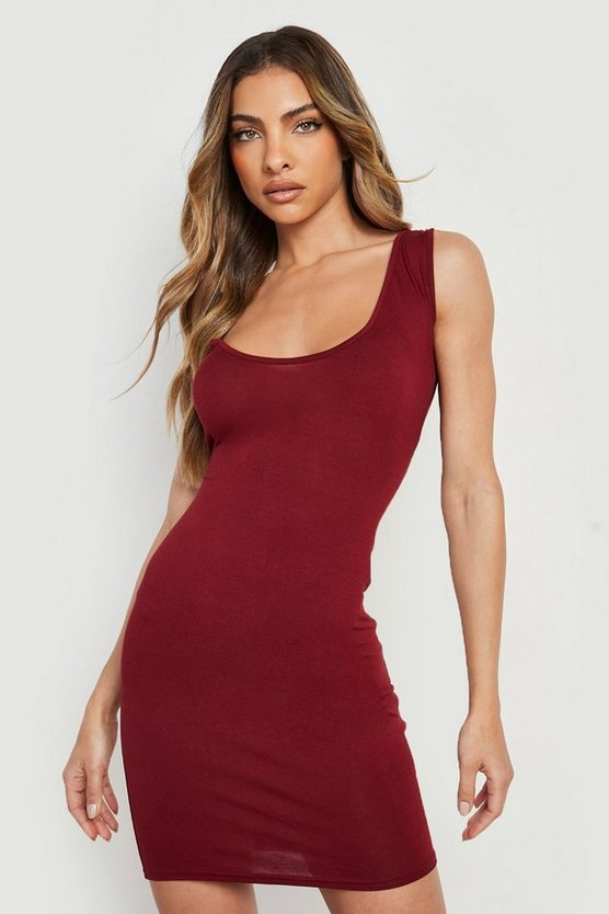 Womens Berry Jersey Bodycon Dress