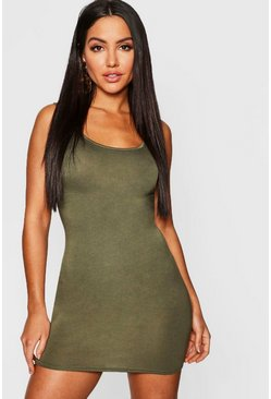 Womens Khaki Jersey Bodycon Dress