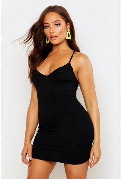 Plunge Front Jersey Cami Bodycon Dress, Black