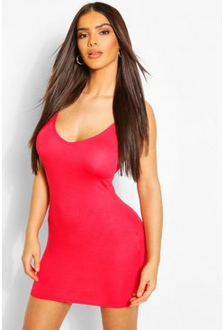 Red Plunge Front Jersey Cami Bodycon Dress
