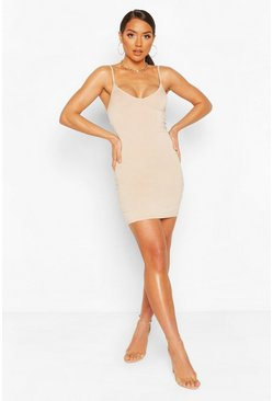 Plunge Front Jersey Cami Bodycon Dress, Stone