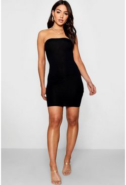 Womens Black Bandeau Jersey Bodycon Dress