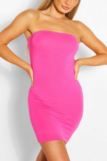 Hot pink Bandeau Jersey Bodycon Dress