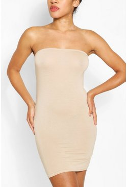 Bandeau Jersey Bodycon Dress, Stone