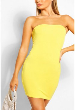 Bodycon-Bandeaukleid aus Jersey, Yellow