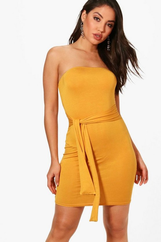 Loren Bandeau Tie Waist Bodycon Dress
