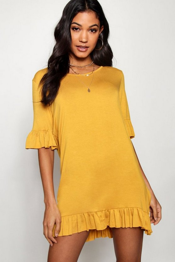 Ruffle Detail Jersey Shift Dress