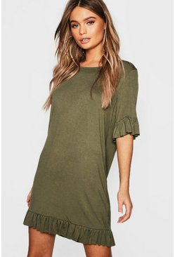 Khaki Ruffle Detail Jersey Shift Dress