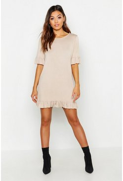 Womens Sand Ruffle Detail Jersey Shift Dress