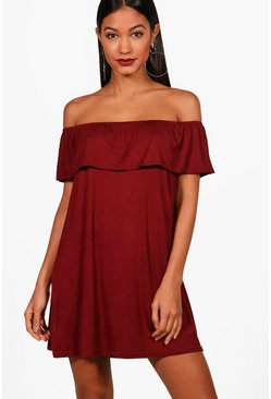Womens Berry Off The Shoulder Jersey Swing Dress