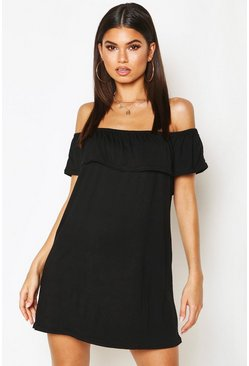 Black Off The Shoulder Jersey Swing Dress