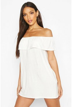 Womens Ivory Off The Shoulder Jersey Swing Dress