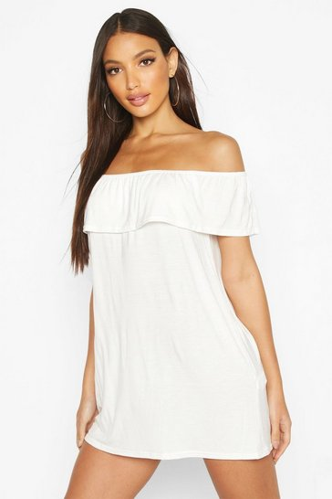 Ivory Off The Shoulder Jersey Swing Dress
