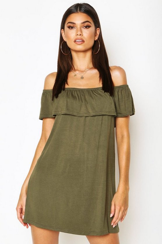 Womens Khaki Off The Shoulder Jersey Swing Dress