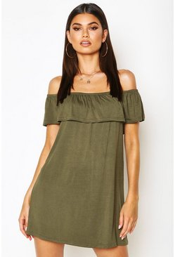 Khaki Off The Shoulder Jersey Swing Dress
