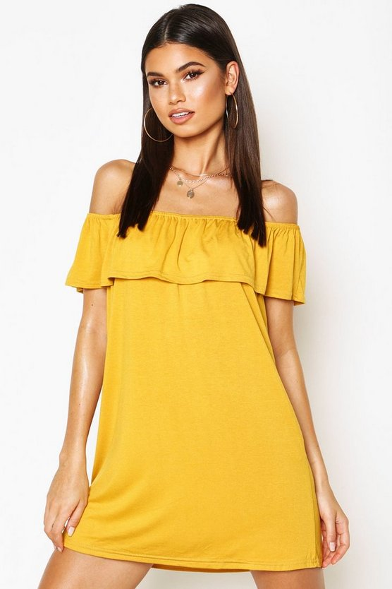 Womens Mustard Off The Shoulder Jersey Swing Dress