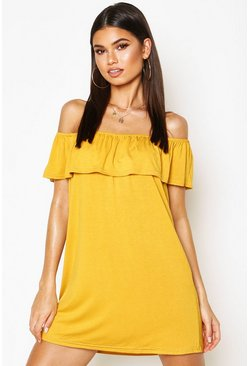 Mustard Off The Shoulder Jersey Swing Dress