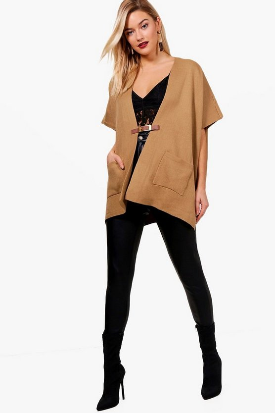 Mayah Buckle Front Knitted Poncho