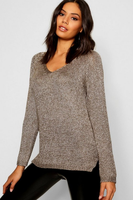 Womens Metallic Twisted Knitted Jumper