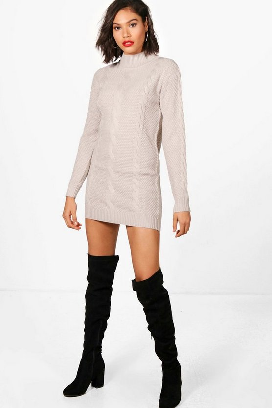 Becky Turtle Neck Cable Knitted Dress