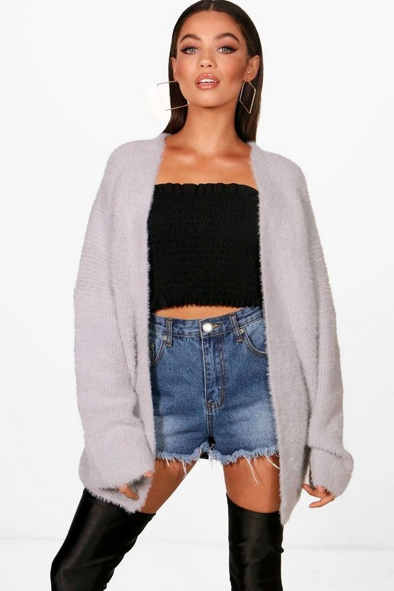 Fluffy Knitted Edge To Edge Cardigan